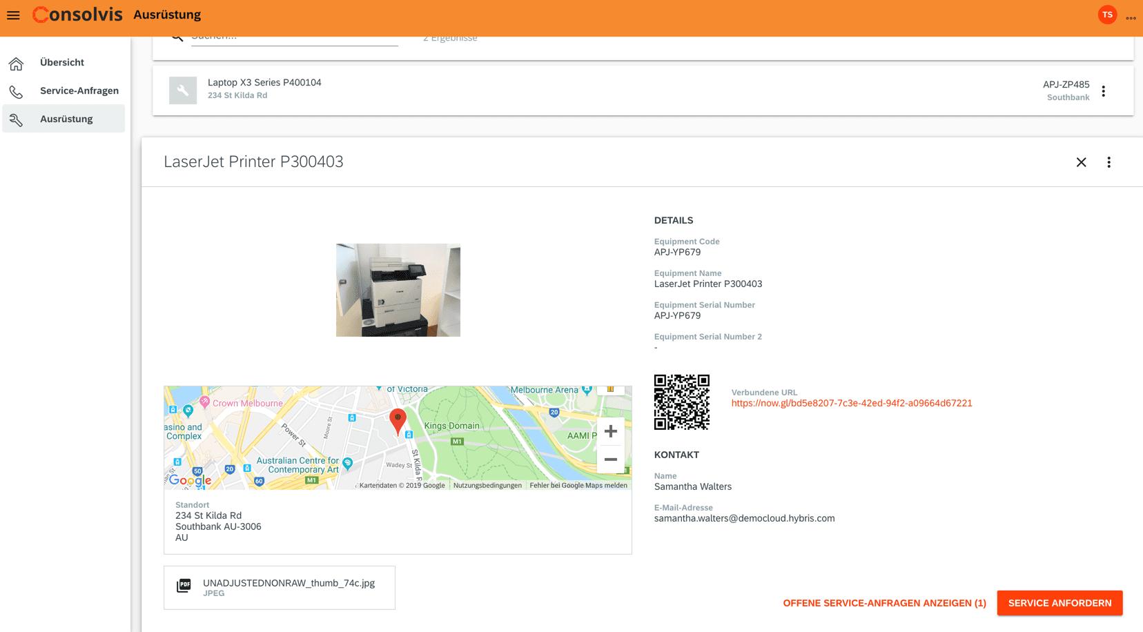 SAP FSM Now Ausrüstungsdetails