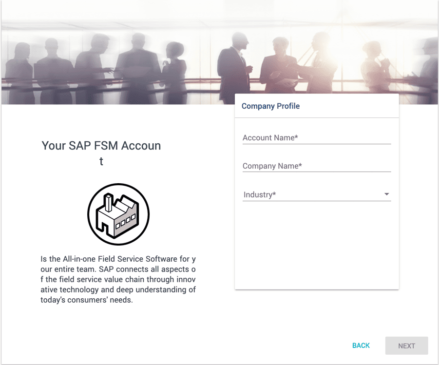 SAP Field Service Management Kostenloser Account Details