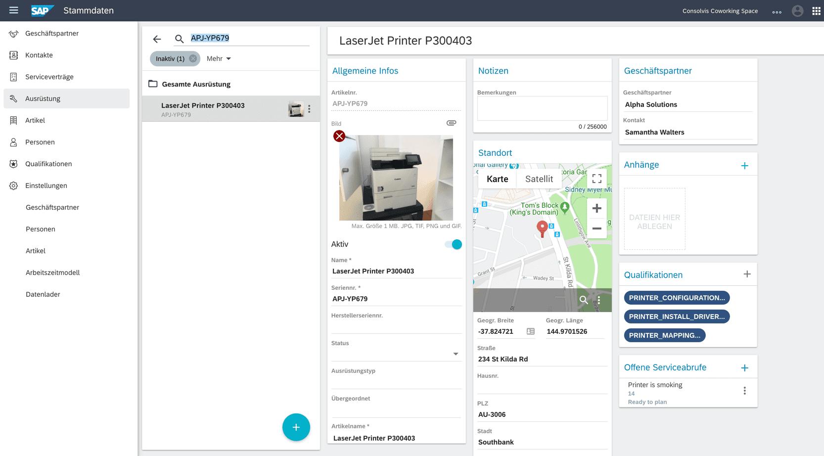 SAP FSM Stammdaten Ausrüstung